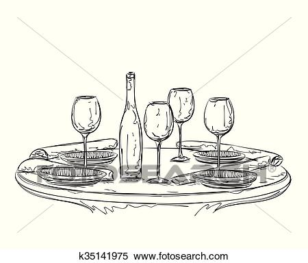 Hand Drawn wares. Romantic dinner for two. Clipart.