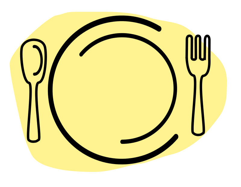 Free Clipart: Dinner Plate with Spoon and Fork.