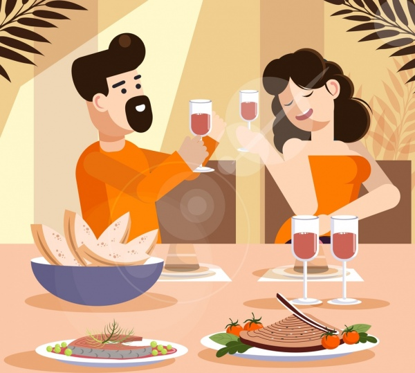 Lifestyle painting cheering couple food dinner icons Free.