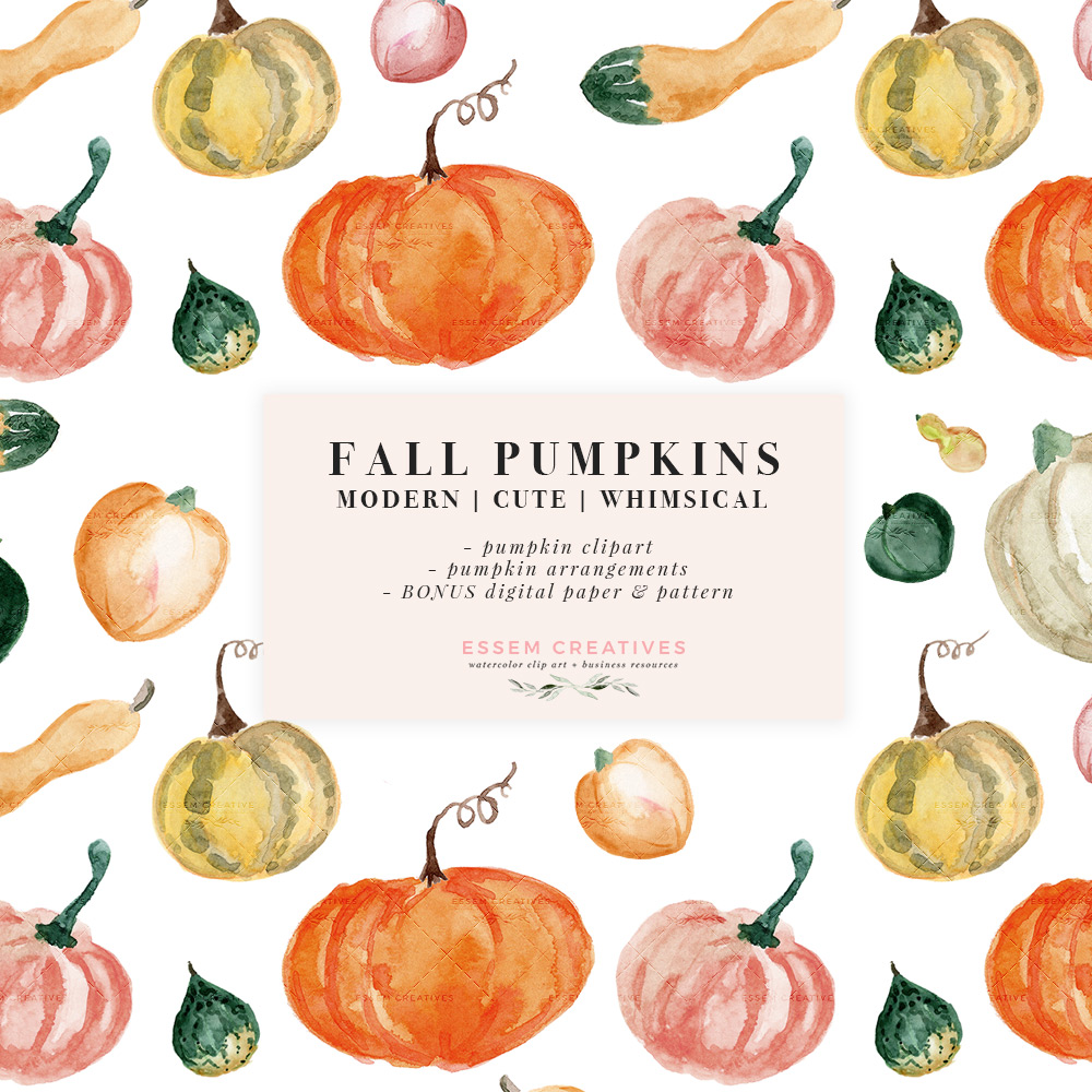 Watercolor Fall Pumpkins Clip art, Thanksgiving Halloween Party Invitation  Graphics with Transparent Background.