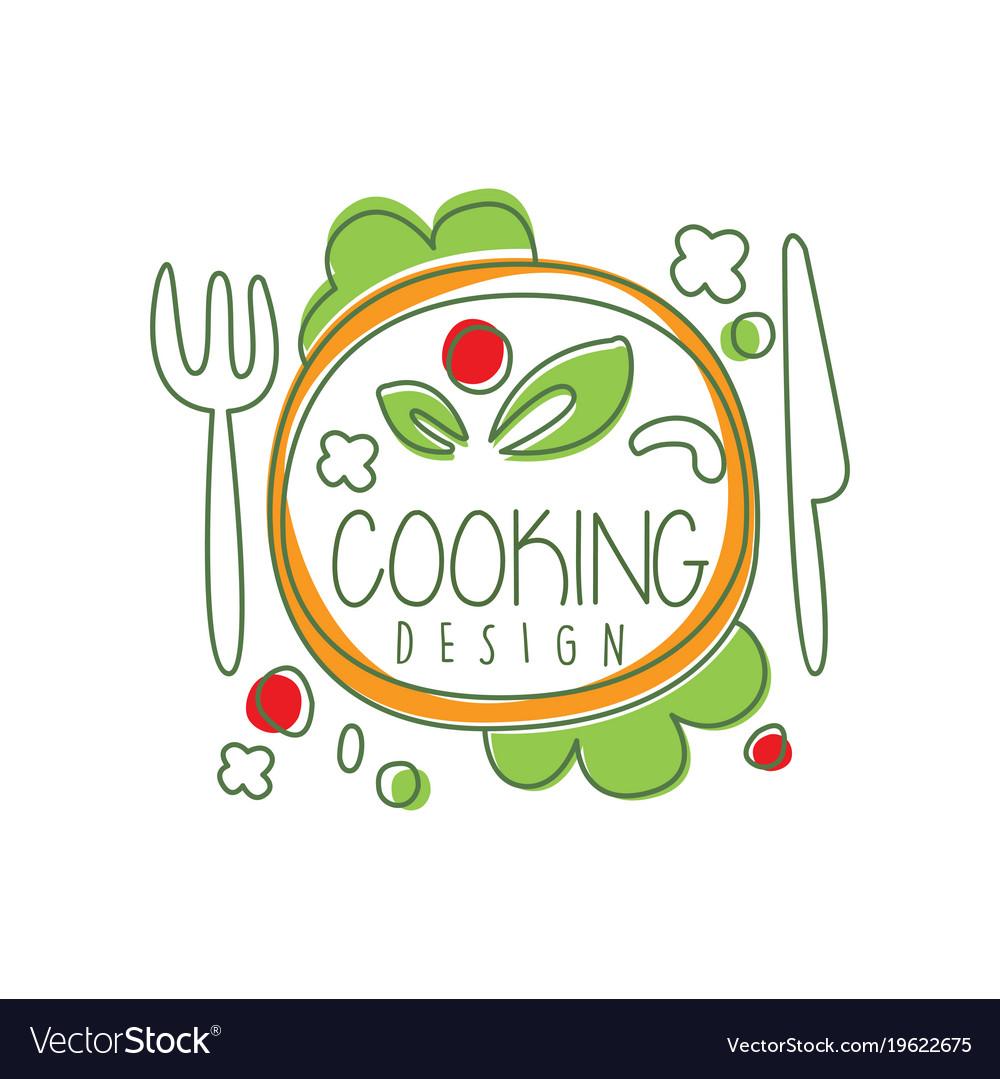 Culinary logo original design with top view dinner.