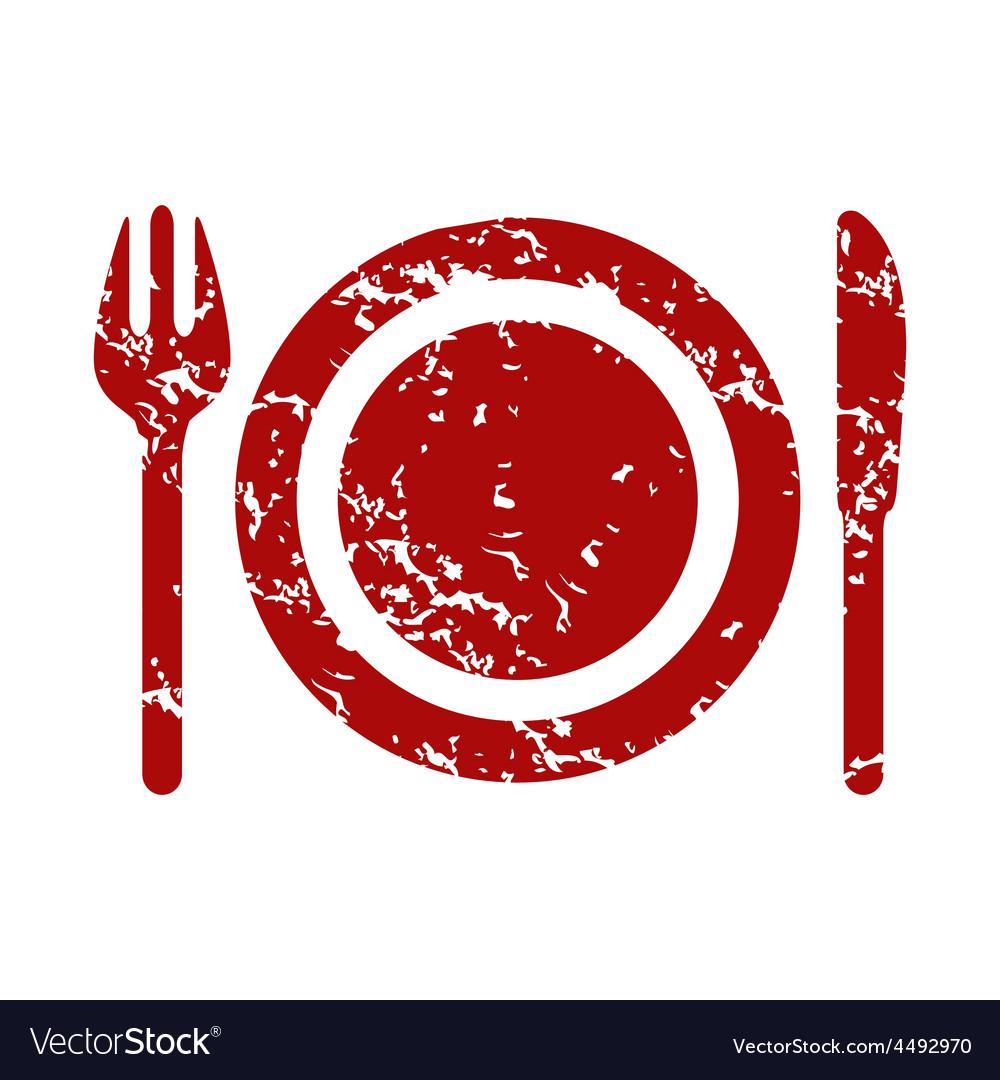 Red grunge dinner logo.