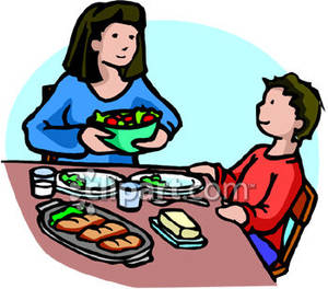 Kid eat dinner clipart.