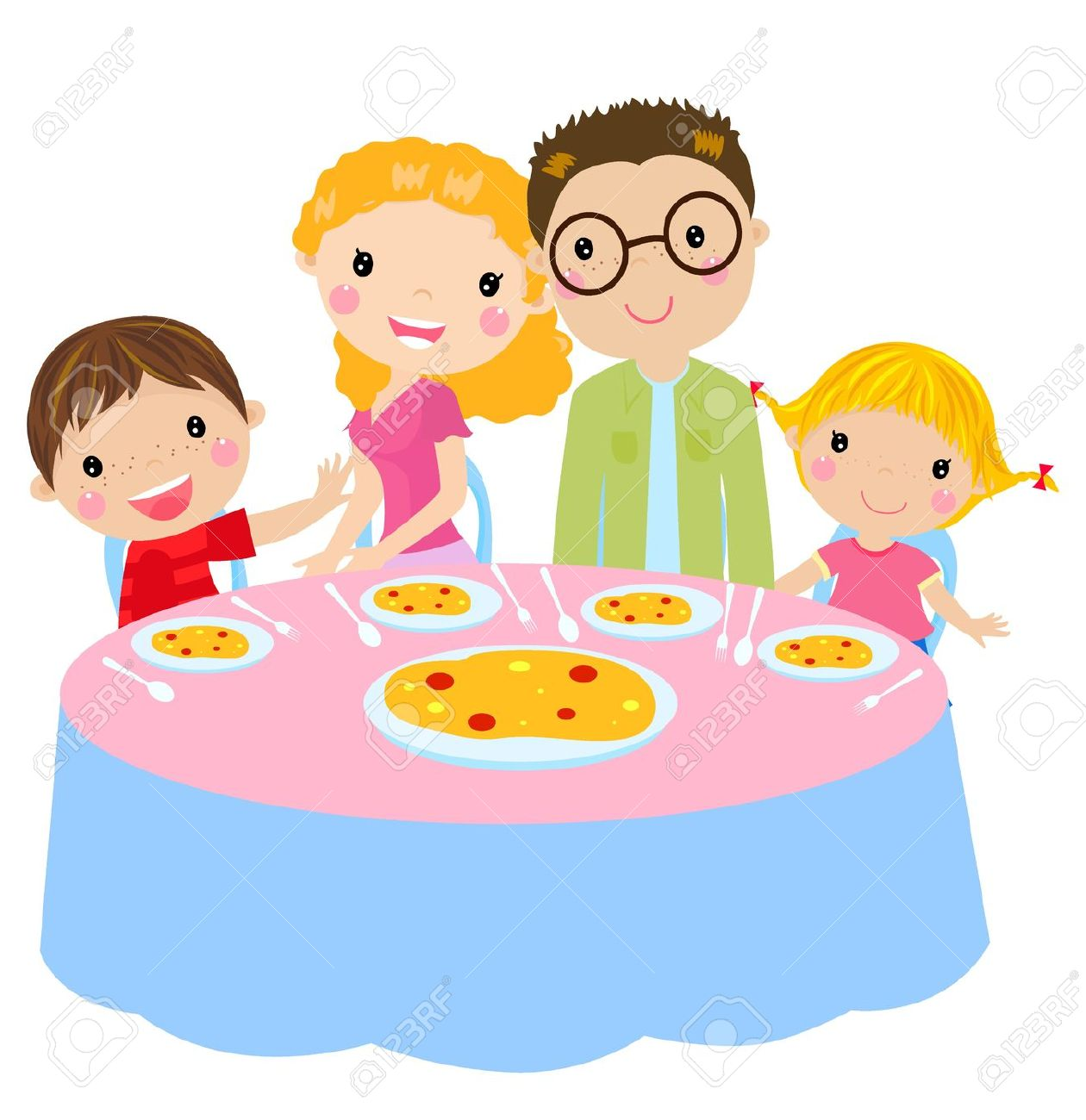 Family eating lunch clipart.
