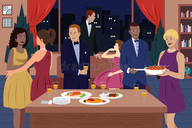 Dinner Party Stock Illustrations.