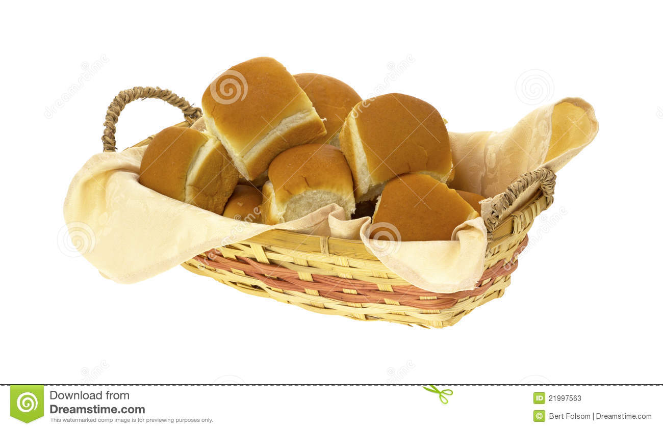 Basket Filled With Dinner Rolls Stock Image.