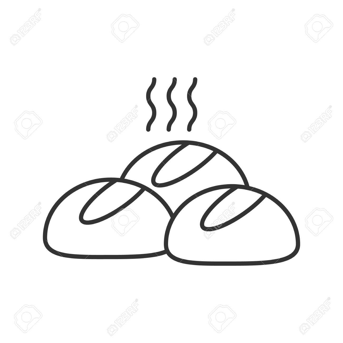 Dinner rolls linear icon. Thin line illustration. Round buns.