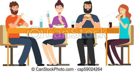 Friends eating snacks. Friendly people group have dinner at desk in  restaurant. Cartoon vector characters isolated on white background.