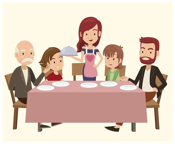 Family On Dinner Table.