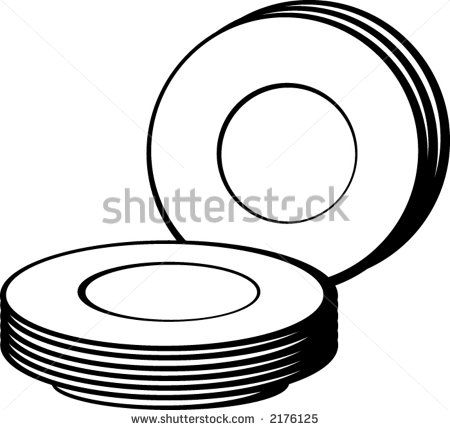 Clip Art Black and White Dinnerware.