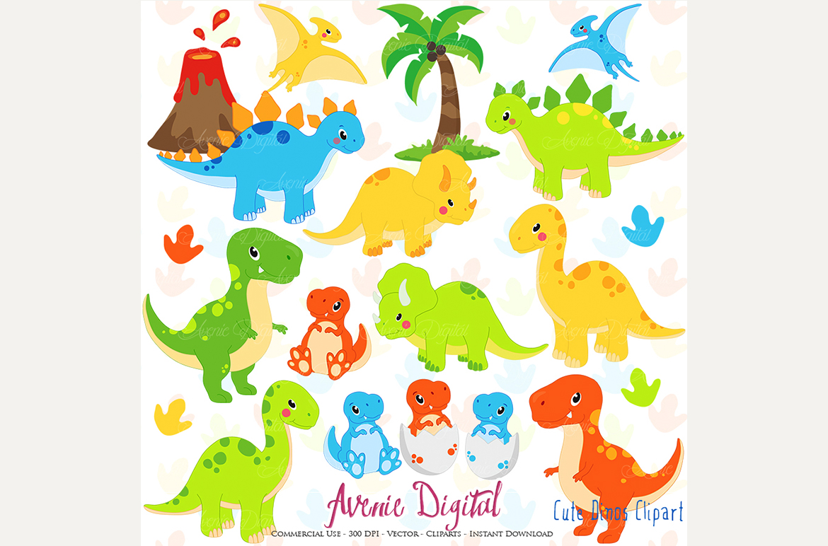 Cute Dinosaur Clipart + Vectors by AvenieDigital.