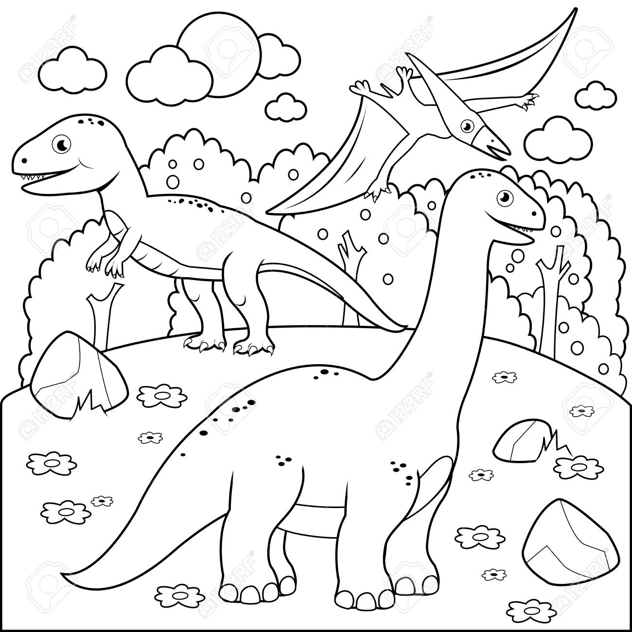 Prehistoric landscape with dinosaurs. Black and white coloring...