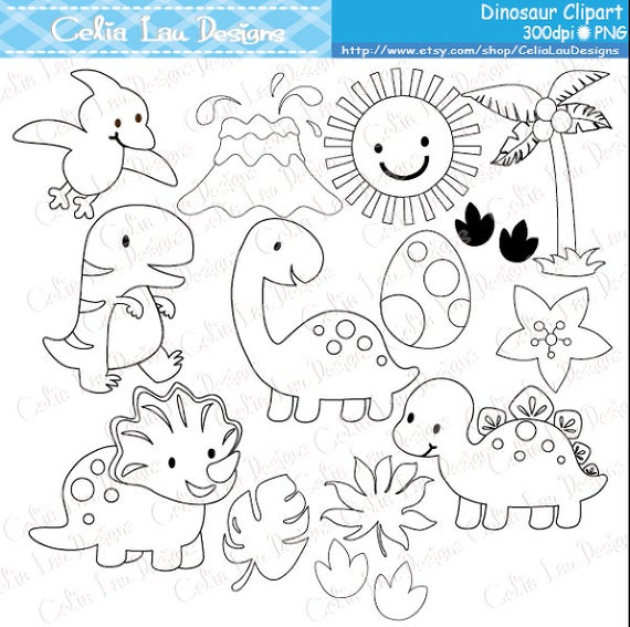 Dinosaur Digital Clipart / Cute Dinosaur Clip Art / Dinosaur Party / Black  and White Outline / Digital Stamp / INSTANT DOWNLOAD(A024).