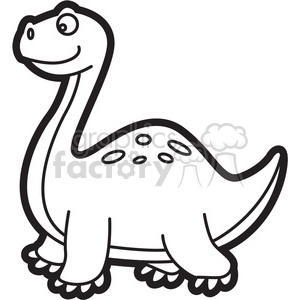 brachiosaurus dinosaur cartoon in black and white clipart. Royalty.
