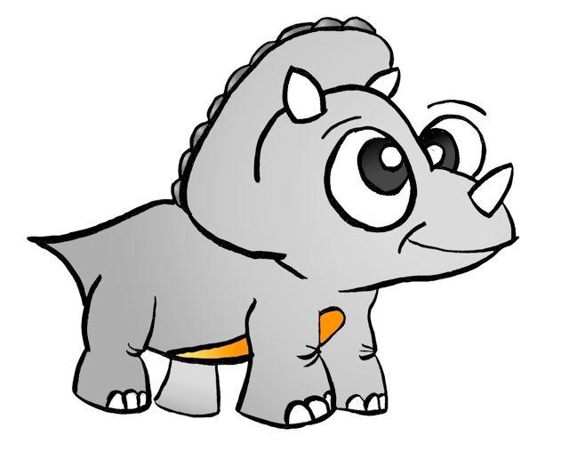 Triceratops Cute Royalty Free Dinosaur Cartoon Clipart.