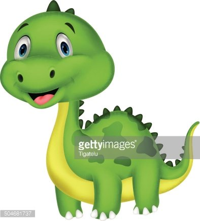 Cute Green Dinosaur Cartoon premium clipart.