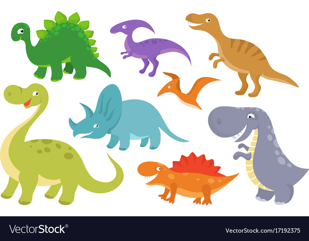 Cute cartoon dinosaurs clip art funny dino.