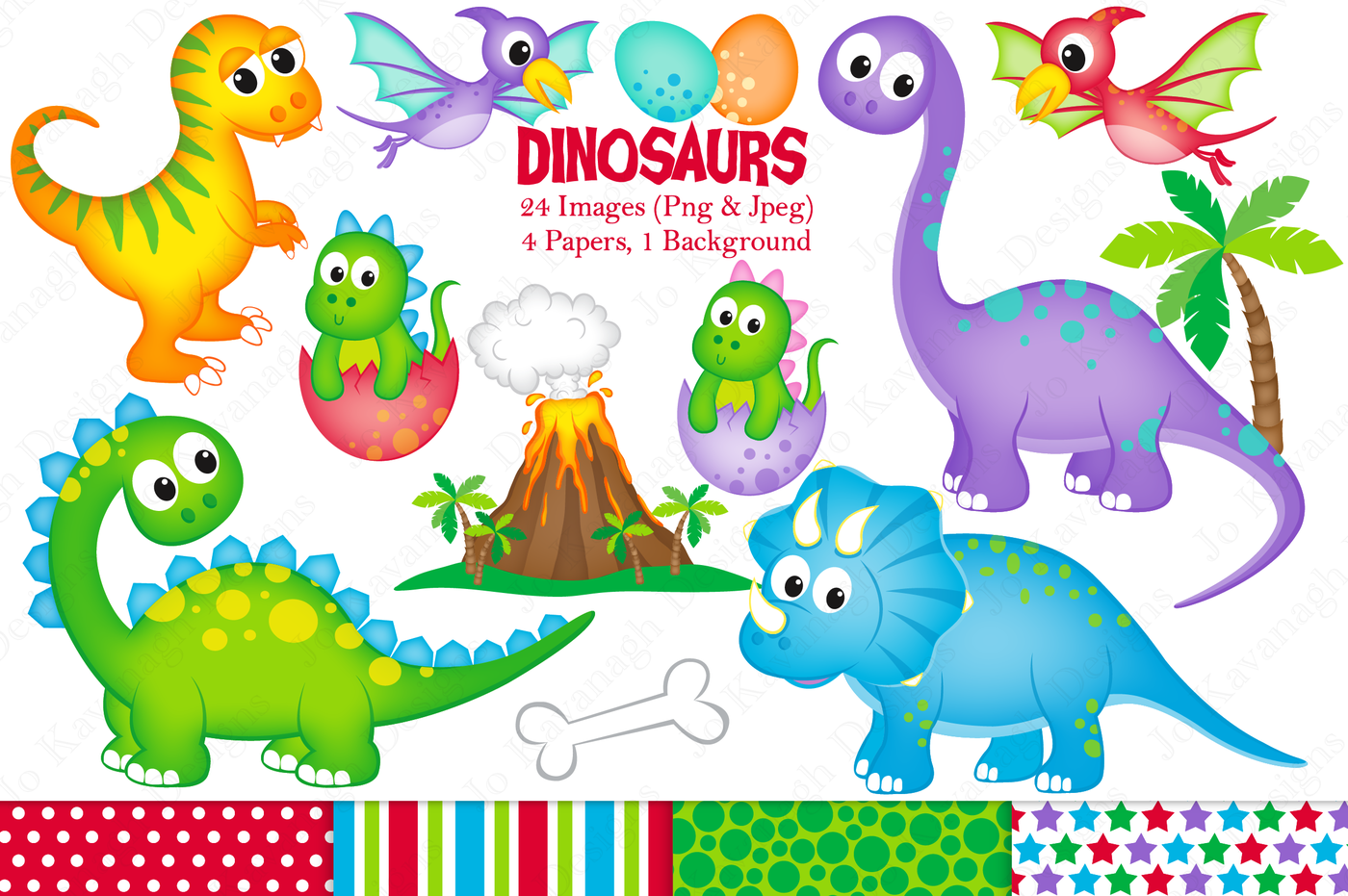 Dinosaur clipart, Dinosaur graphics & illustrations, Cute.
