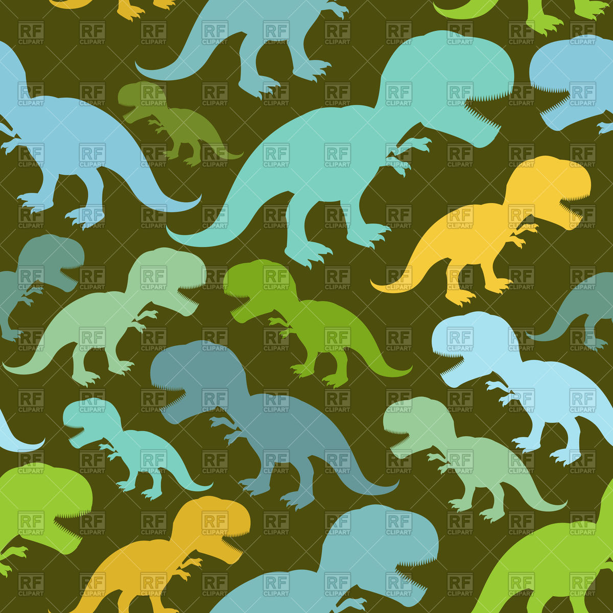 Seamless pattern with green silhouette of dinosaur Vector Image.