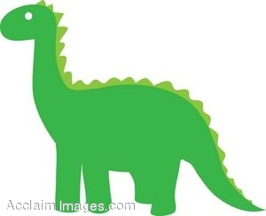 Dinosaur Silhouette Clip Art in Green.