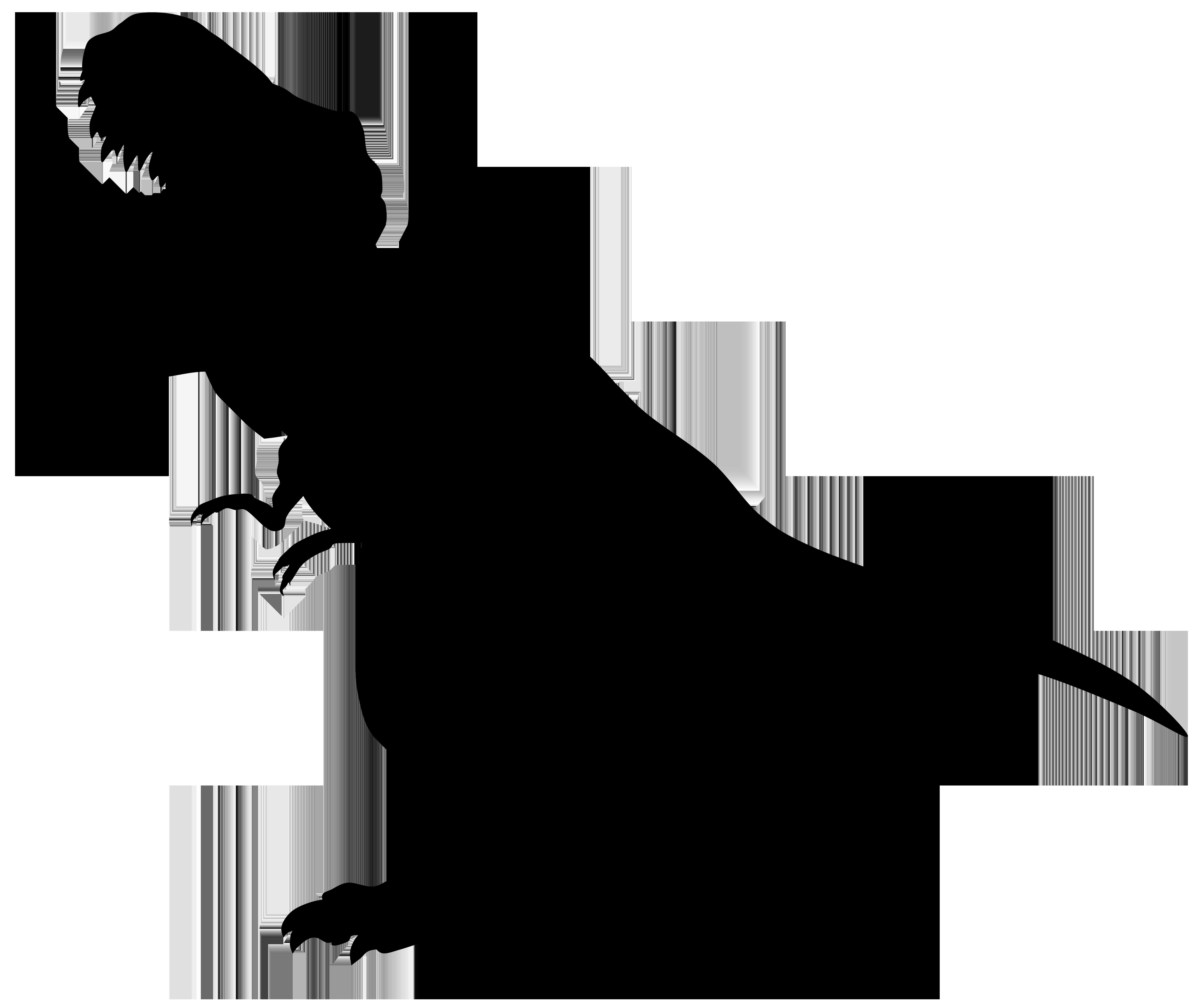 Dinosaur Rex Silhouette PNG Transparent Clip Art Image.