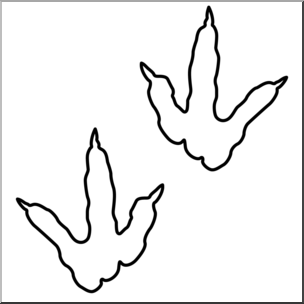 Clip Art: Dinosaur Footprints 01 B&W 2 I abcteach.com.