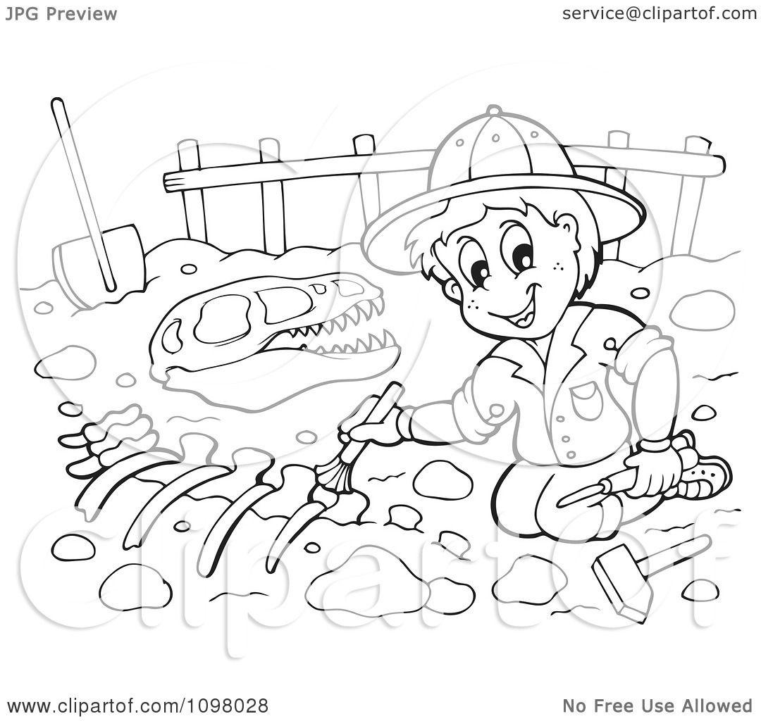Clipart Outlined Paleontologist Brushing Dinosaur Bones.