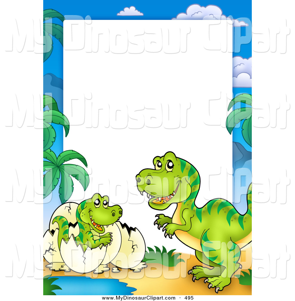 larger preview clipart of a hatching green dinosaur and.