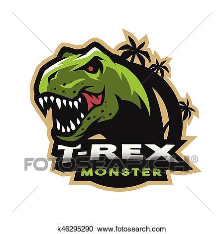 Dinosaur head logo, emblem. T.