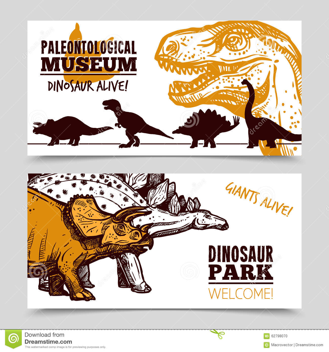 Museum In The Park Of Dinosaurs. Stock Photo.