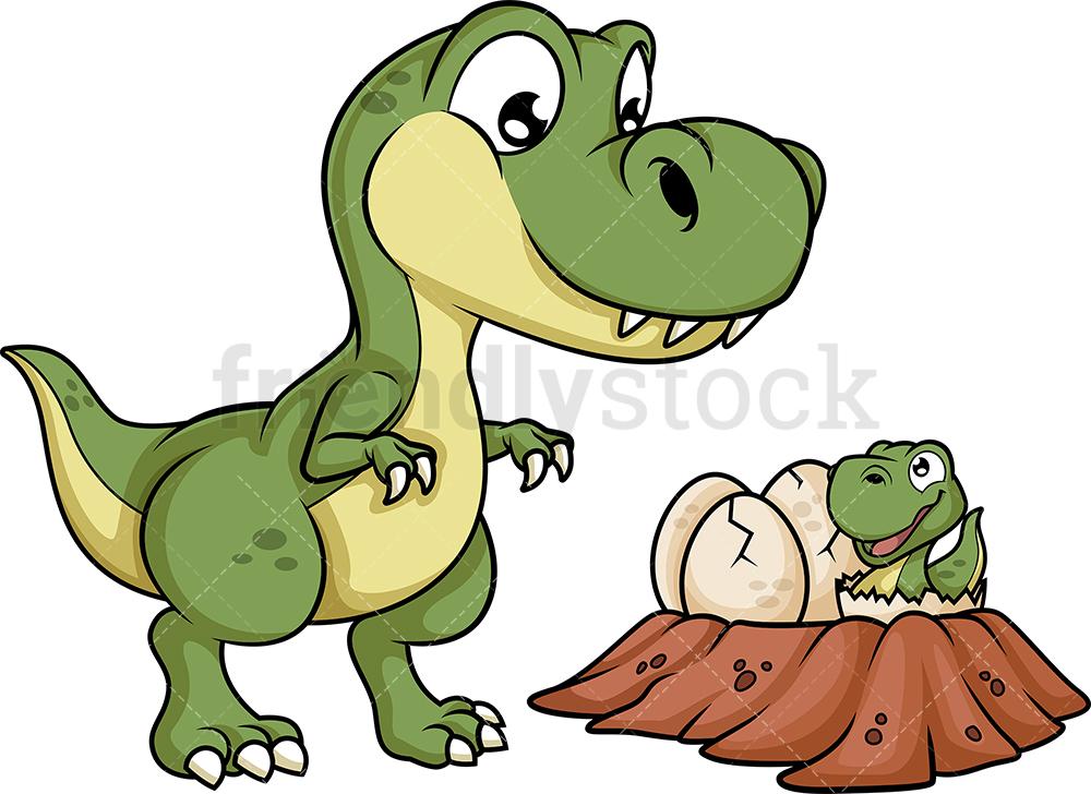 Dinosaur Mother Near Its Nest.