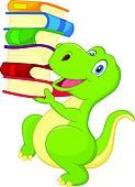 Clipart of Cartoon Dinosaur Reading k20643032.