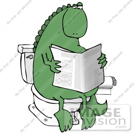Clip Art Graphic of a Green Dinosaur Taking A Leisurely Poo While.