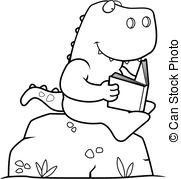Vector Illustration of Reading Dinosaur.