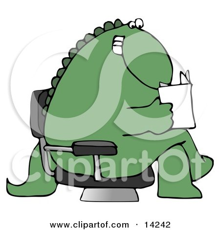 Green Dino Sitting on a Toilet and Reading a Newspaper in a.