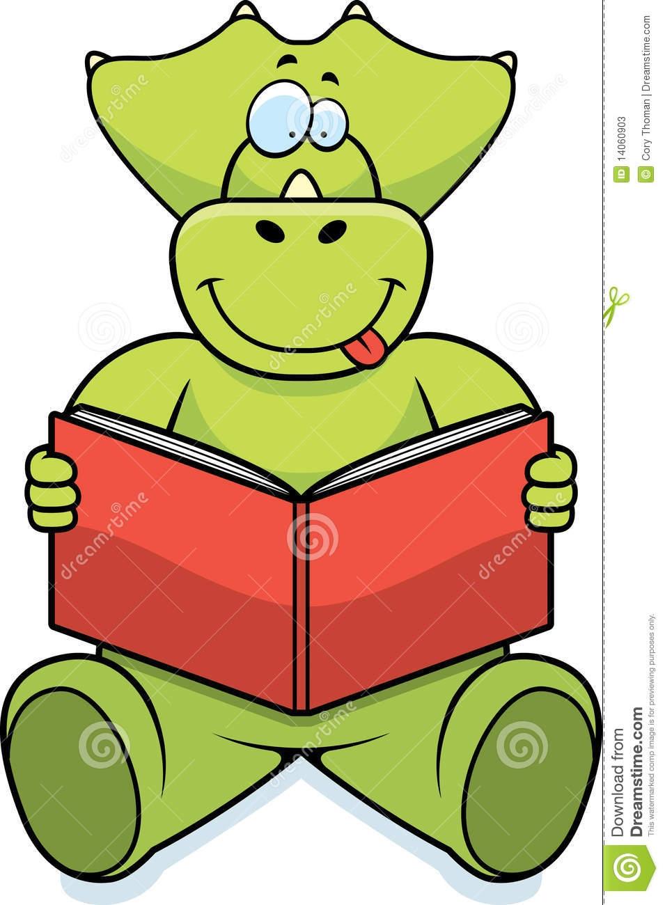 Dinosaur Reading Clipart.