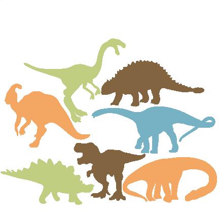 Cute Dinosaur Silhouette Clipart.