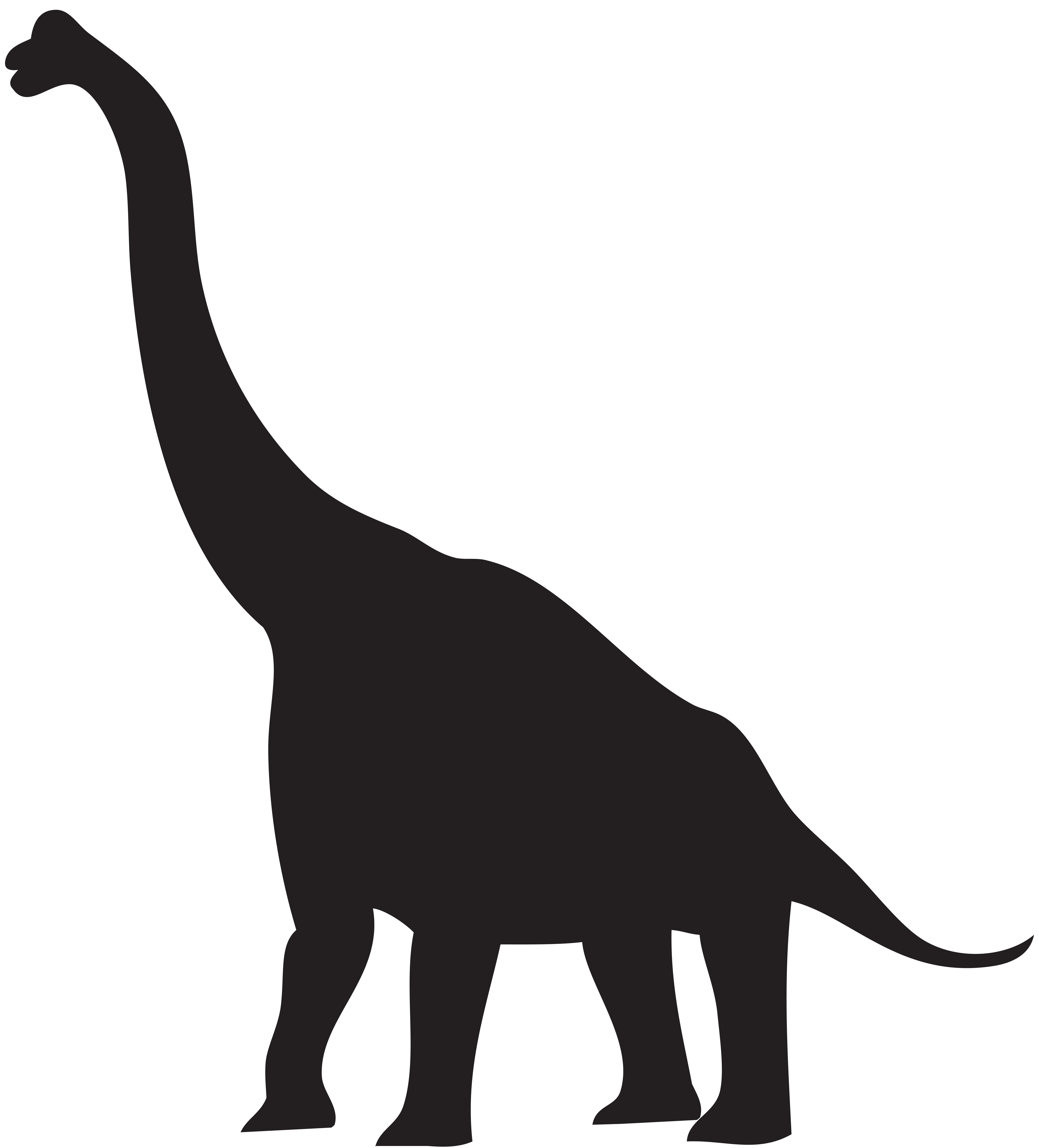 Dinosaur Silhouette PNG Clip Art Image.