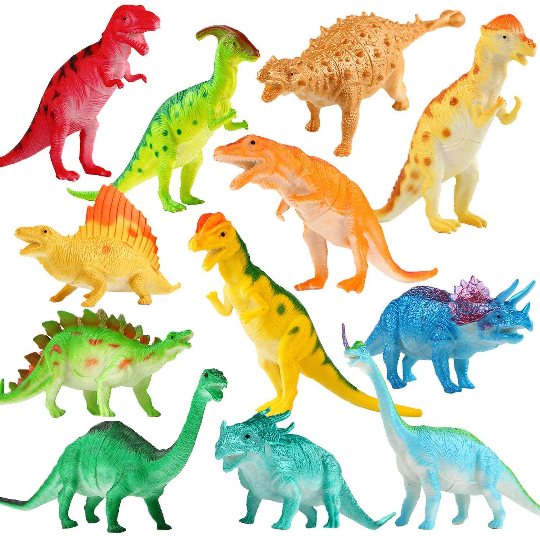 Yeonha Toys Dinosaur Figure, 7 Inch Jumbo Dinosaur Toy Playset(12 Pack),  Safe Material Assorted Realistic Dinosaur, Vinyl Plastic Dino Dinosaur Set.