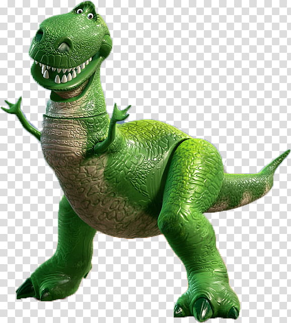 TOYSTORY, green and brown dinosaur toy illustration.