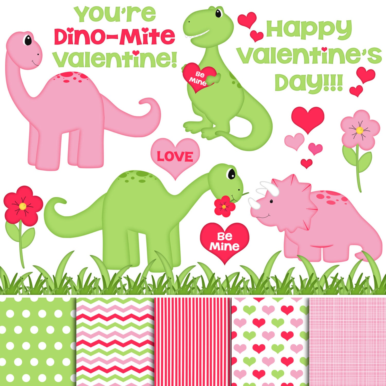 Dino Valentine Pink Digital Clipart & Paper.