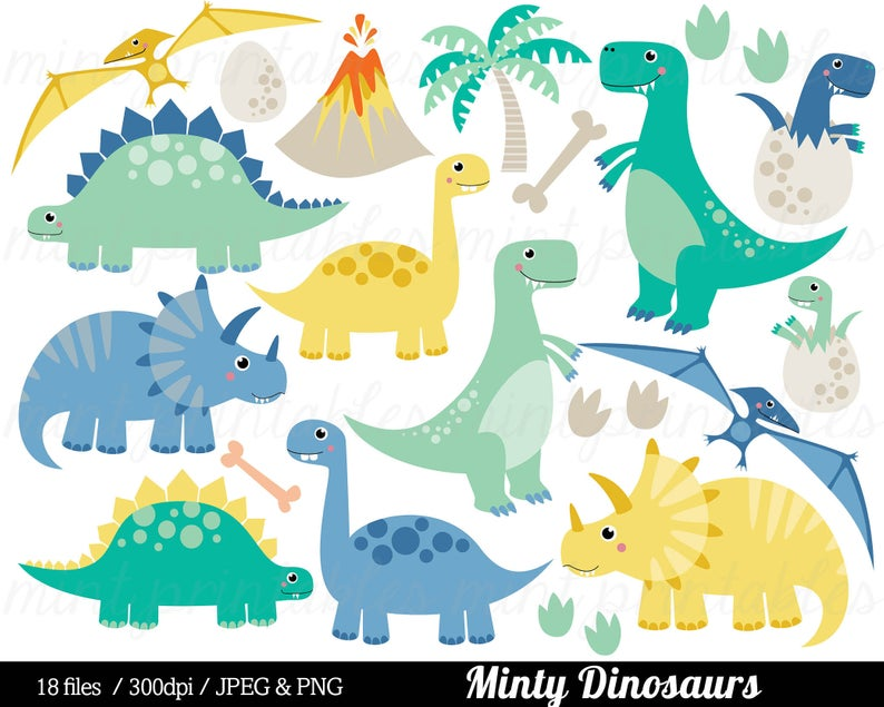 Dinosaurier Clipart, ClipArt Dinosaurier, Tyrannosaurus Rex Stegosaurus  Triceratops Pterodactyl Ei.