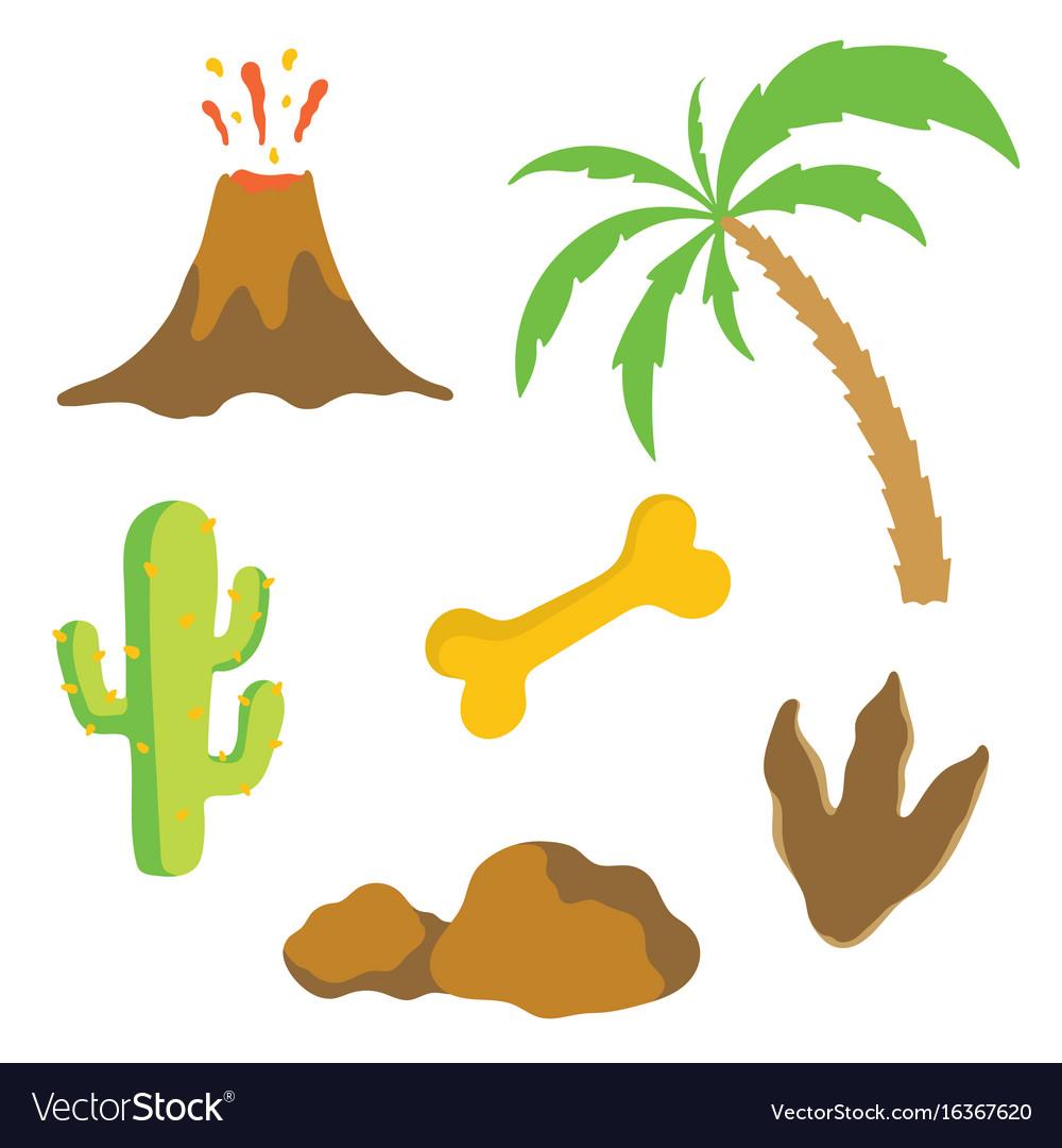 Dinosaur footprint volcano palm tree bone and.