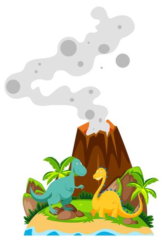 Two dinosaurs at the base of volcano.