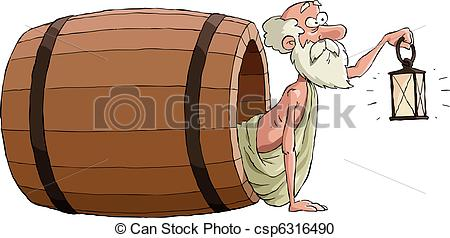 Vector Clipart of Diogenes looks out of the barrel, vector.