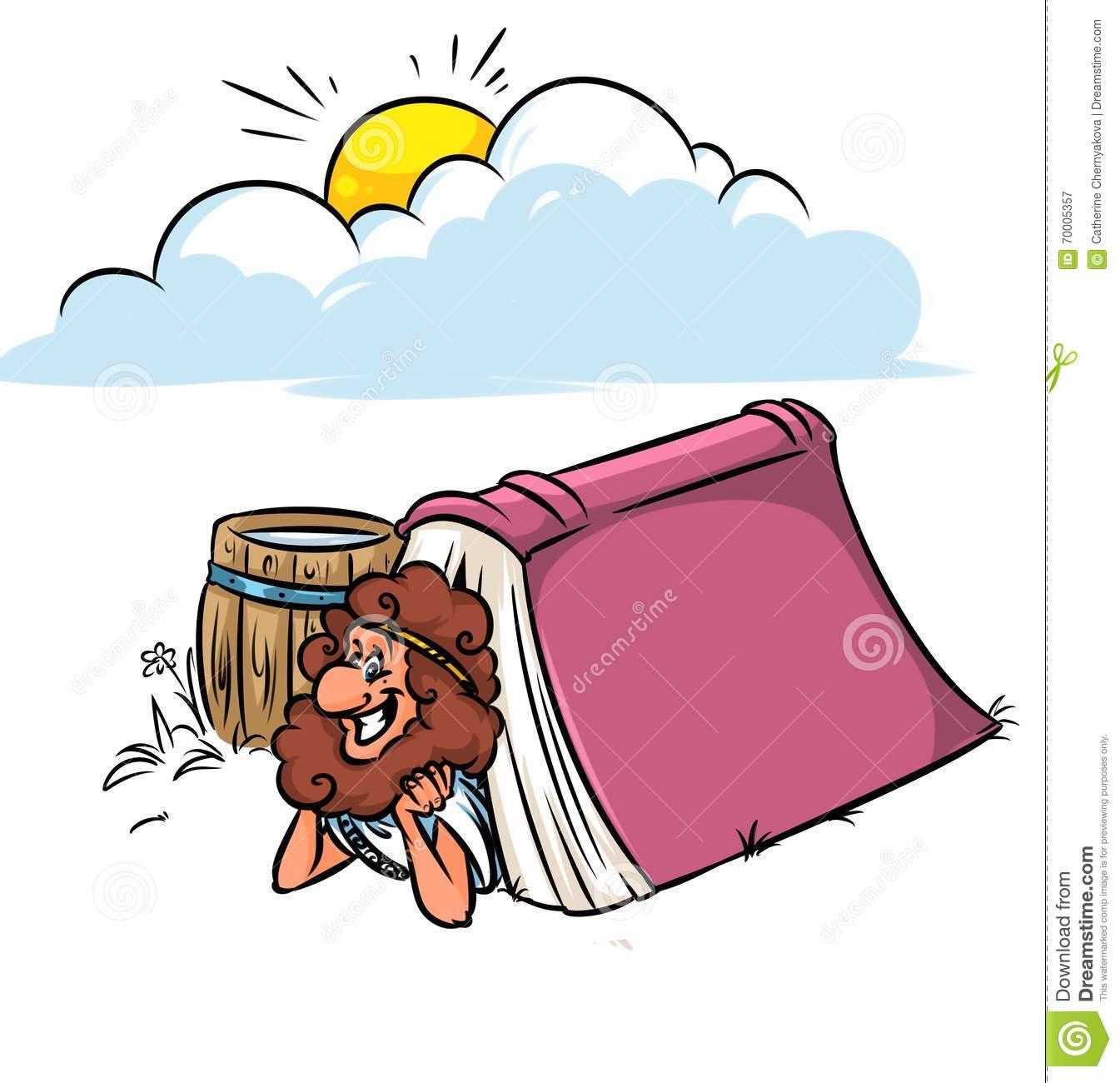 Greek Diogenes Book Philosophy Cartoon Stock Illustration.