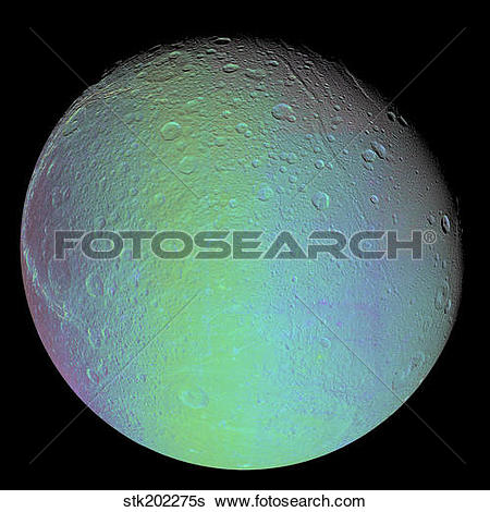 Stock Images of False color view of Saturn's moon Dione.