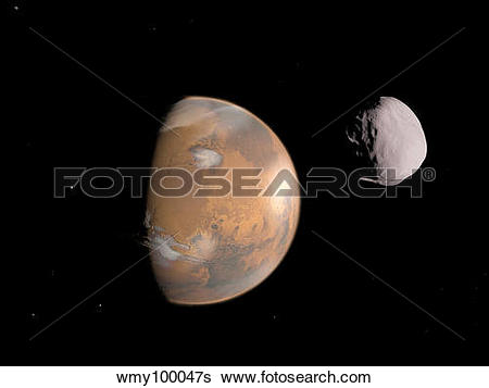 Stock Illustration of Artist's concept of Mars and it's moon.