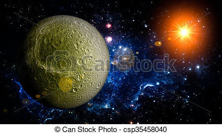 Drawing of Dione Planet Solar System space isolated illustration.