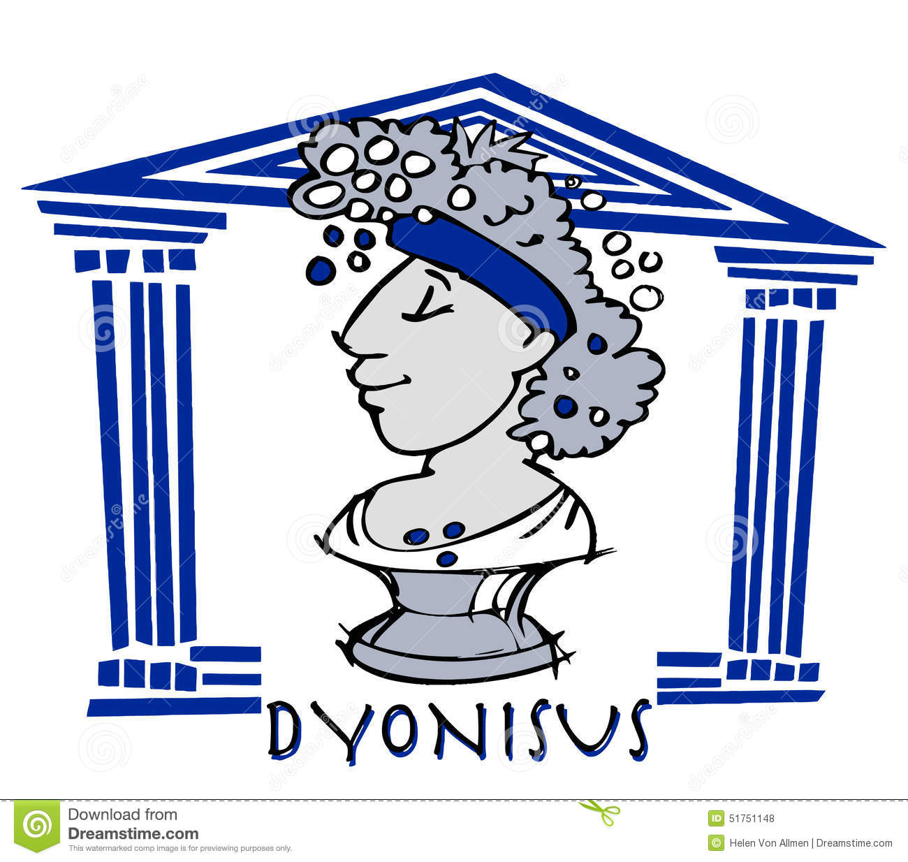 Dionysus,Baccus, Greek God Cartoon Stock Vector.